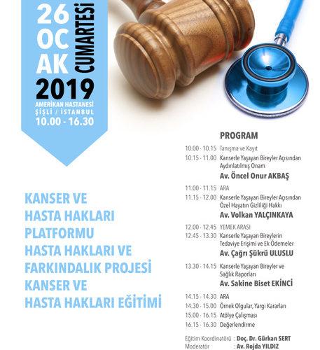 Hasta Hakları Platformu Eğitim – 26 Ocak 2019